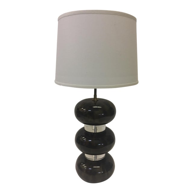 Karl Springer Lacquered Wood and Lucite Table Lamp For Sale