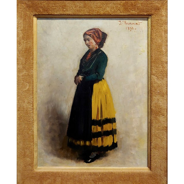 Leon Bonnet -19th century Portrait of an Italian Woman-Oil painting 1871 oil painting on board -Signed and dated frame...