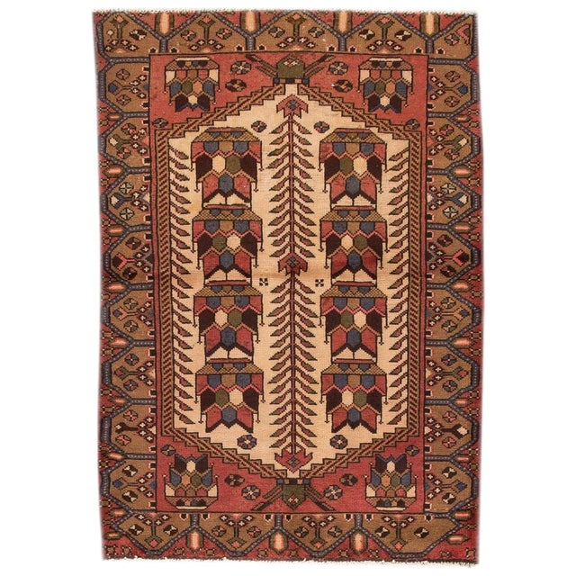 """Vintage Persian Rug, 3'4"""" X 4'10"""" For Sale"""