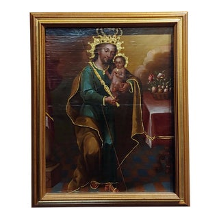"18th Century Spanish Colonial Religious Icon ""Baby Jesus"" Oil Painting For Sale"