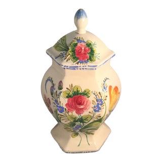 1990s Vintage Hand Painted Ginger Jar For Sale