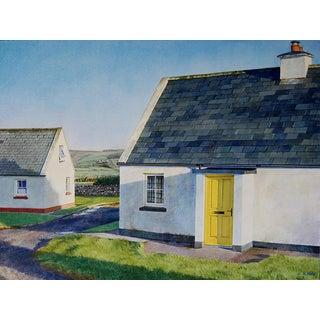"""Yellow Door Cottage"" Original Watercolor on Paper by Kathleen Kolb For Sale"