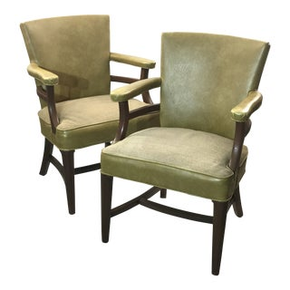 1960s Tan Leather Accent Chairs- a Pair For Sale