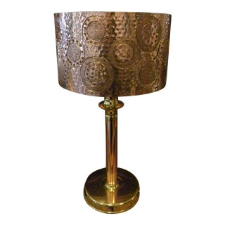 Hammered Metal Engraved Table Lamp with Lamp Shade For Sale