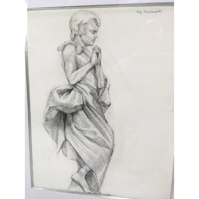 This is an Academy style pencil drawing Of a female in classical dress. Artist signed circa 1950. Framed in a Hand carved...