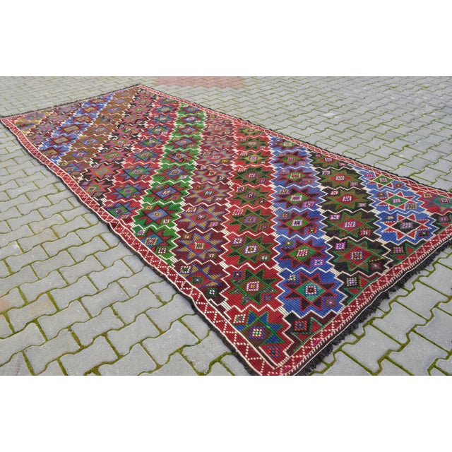 "Dimension: 71.6"" x 161.4"" Excluding fringe Material : Made of wool on goat hair Origin: Oushak Age: About 50+ years old..."