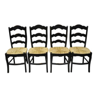 French Country Woven Rush Seat Ladder Back Ladder Back Country Dining Chairs - Set of 4 For Sale