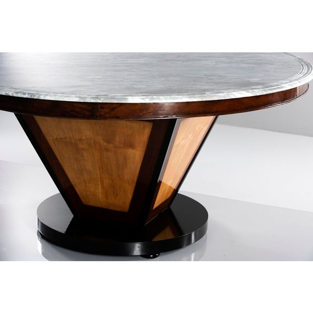 Large Deco Inspired Italian Marble Table With Custom Made Base For Sale In Detroit - Image 6 of 13