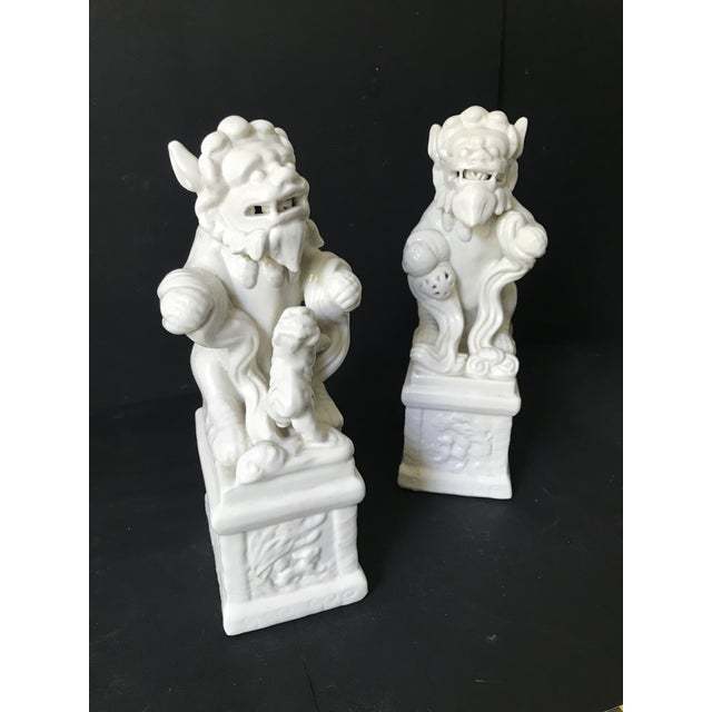 Ceramic Vintage Blance De China Porcelain Foo Dogs - A Pair For Sale - Image 7 of 7