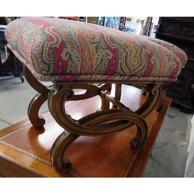Hollywood Regency Regency Style Tapestry Upholstered Footstools - a Pair For Sale - Image 3 of 5