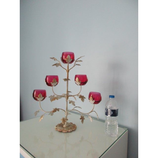 Mid-Century Modern Candelabra With Rose Colored Glass For Sale - Image 11 of 13