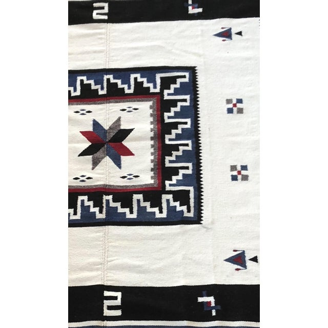 Purchased in Mexico in 1947. Beautiful indigo blue and and heavy weave make this Vallero Star blanket a distinctive...