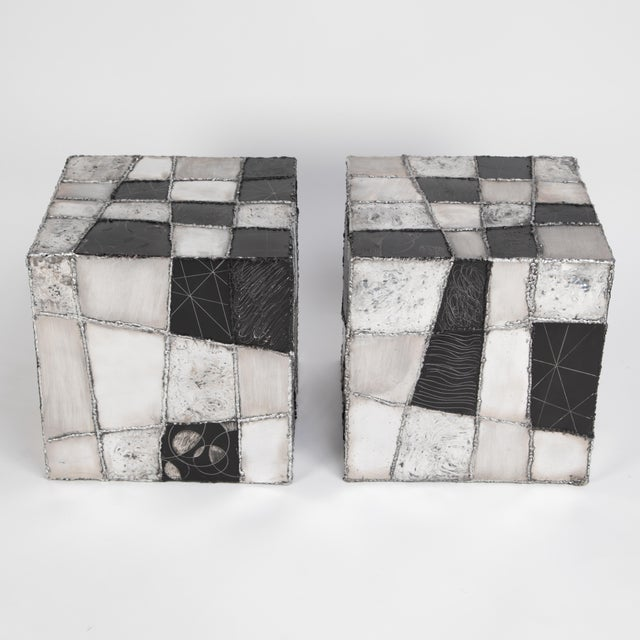"This pair of Paul Evans side tables is a rare and outstanding example of the Pennsylvania artist's ""Argente"" series for..."