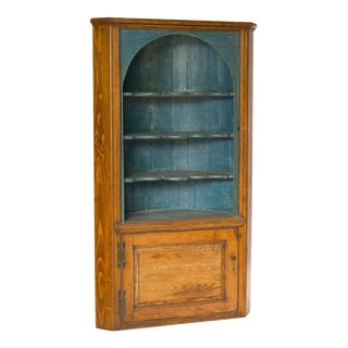 Rustic Painted Blue Wooden Corner Cupboard For Sale