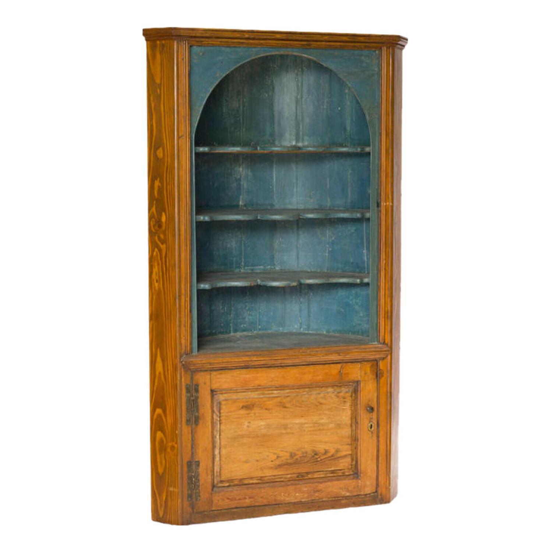 Rustic Painted Blue Wooden Corner Cupboard