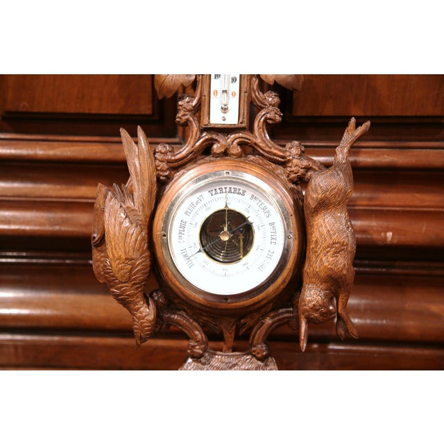 19th Century French Carved Walnut Black Forest Barometer With Deer and Guns For Sale In Dallas - Image 6 of 10