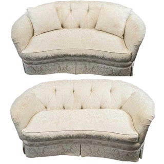 Pair White Brocade Tufted Loveseats/Sofas Sherrill Furniture Pair White Parlour Couches For Sale