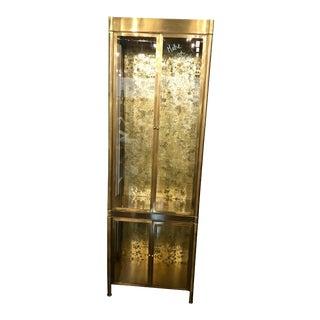 Hollywood Regency Mastercraft Brass & Glass Vitrine Display Cabinet For Sale