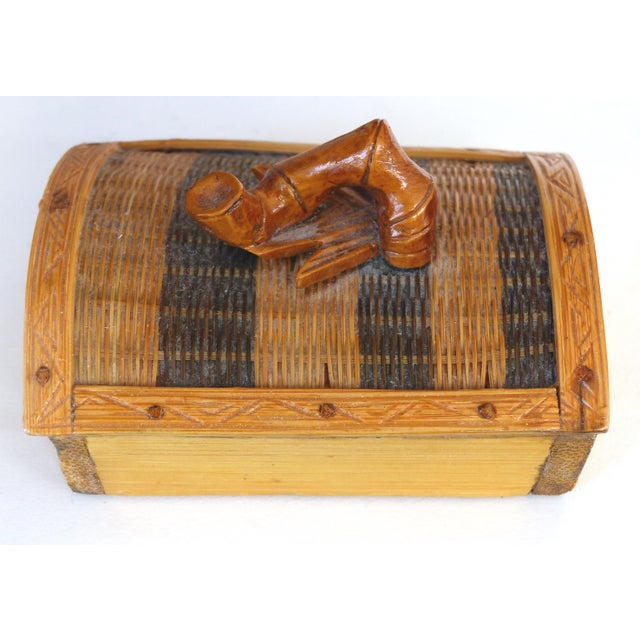Ceramic Chinese Woven Reed Zebra Trinket Box For Sale - Image 7 of 13