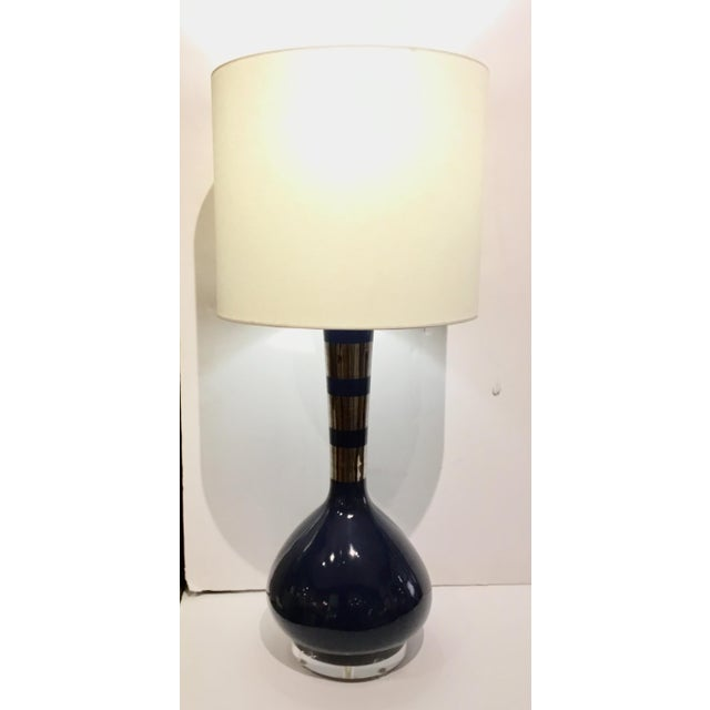 Modern Indigo Blue and Silver Banded Metallic Glazed Table Lamps Pair For Sale In Atlanta - Image 6 of 7