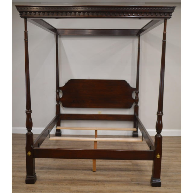 High Quality American Made Solid Mahogany Carved Canopy 4 Post Bed that Fits Standard Queen Size Mattress