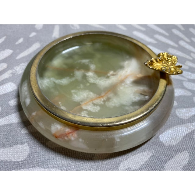Shabby Chic 1950s Vintage Green Onyx Catchall For Sale - Image 3 of 10