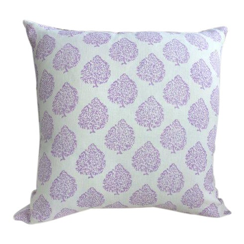 John Robshaw Fabric Mali in Lavender Pillows - a Pair For Sale - Image 4 of 4