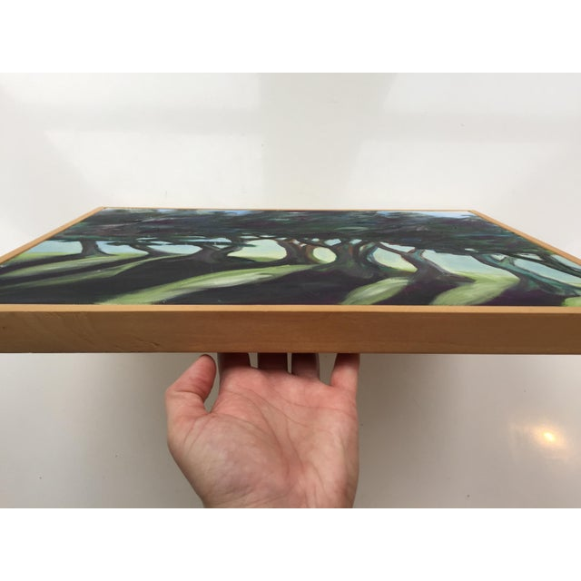 Abstract Landscape Painting of Trees on Framed Canvas For Sale - Image 3 of 8