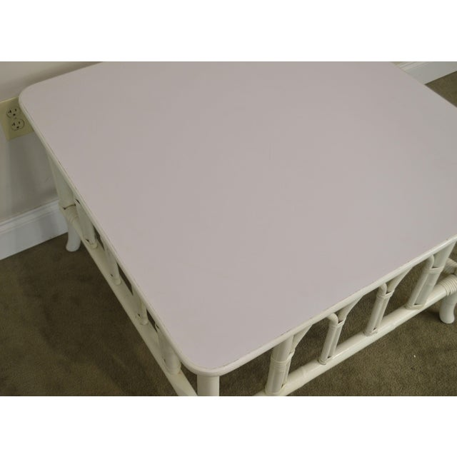 White Ficks Reed White Painted Square Rattan Coffee Table For Sale - Image 8 of 13