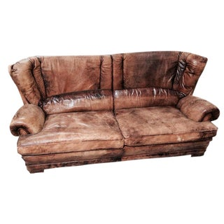 1950's French Brown Leather Settee For Sale
