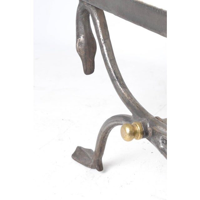 1970s Quality Steel and Brass Bench with Swan Motif For Sale - Image 5 of 5