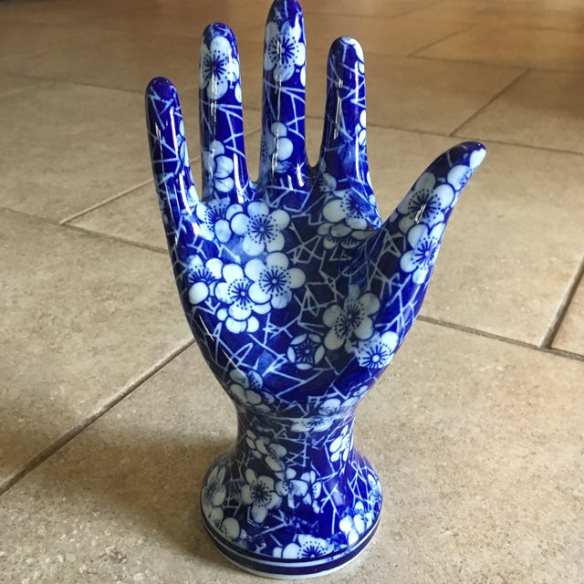 Ceramic Blue & White Ceramic Hand Sculpture For Sale - Image 7 of 8