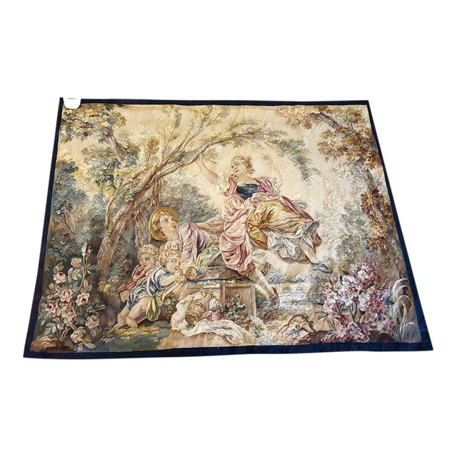 "19th Century Antique French Tapestry ""Romantic Pattern"" For Sale"