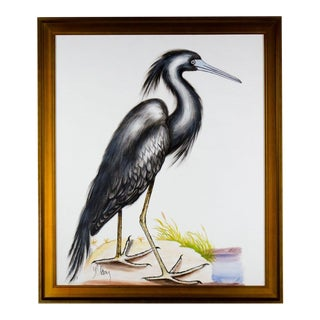 Black Heron Acrylic Painting on Canvas by Y. Olson For Sale