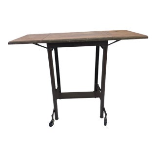 Vintage Industrial Wood Top Double Drop Leaf Typewriter Table For Sale