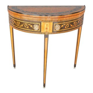 19th Century Italian Neoclassical Demilune Game Table For Sale