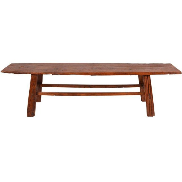 Antique Chinese Elm Primitive Bench For Sale