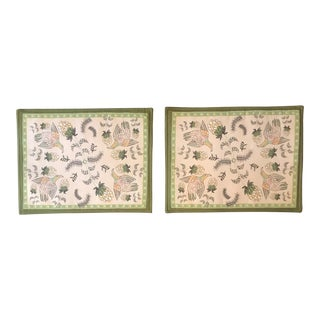 South African Handmade Placemats Print on Linen Blend - a Pair For Sale