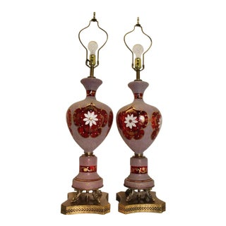 Vintage Ornate Stained Red Glass Table Lamp Made in Germany Dolphin Brass Base - a Pair For Sale