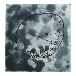 "Martha Holden Contemporary Etching ""School Clock"" For Sale"