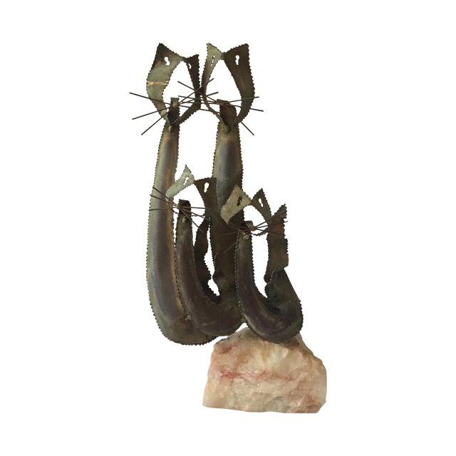 Brustalist-Style Brass Cat Sculpture - Image 1 of 6