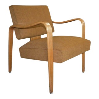 Mid 19th Century Thonet Mid Century Modern Bentwood Upholstered Arm Chair For Sale