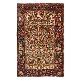 19th Century Traditional Bakhtiari Yellow and Green Wool Rug For Sale