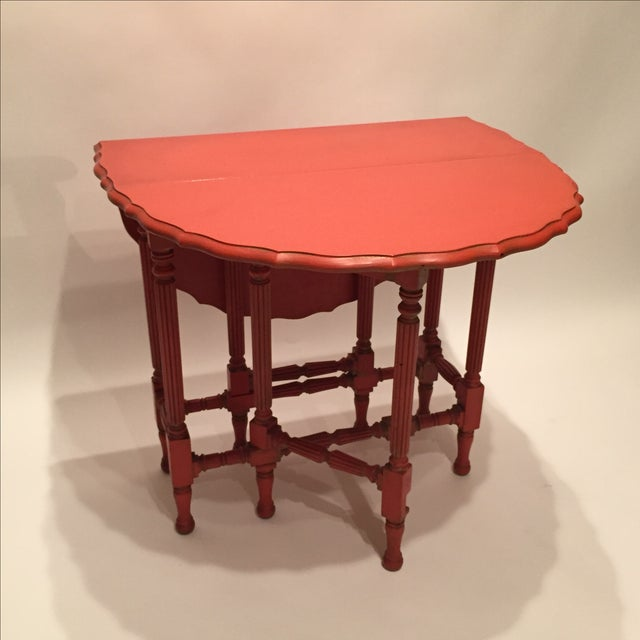 Vintage Orange Drop Leaf Table - Image 3 of 11