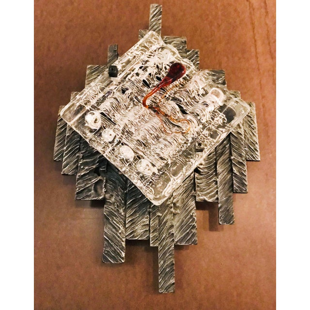 Brutalist Murano Sconces / Flush Mounts - a Pair For Sale - Image 4 of 9