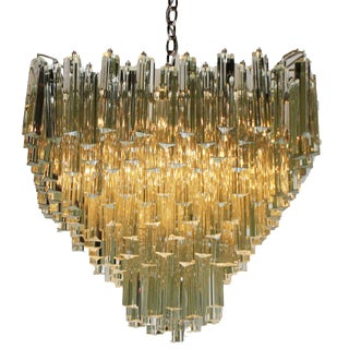 Clear Glass Prism Chandelier, C. 1950 For Sale