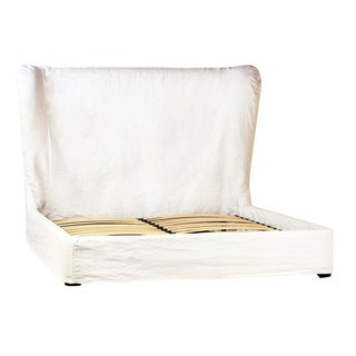 Ari White Fabric Queen Bed For Sale