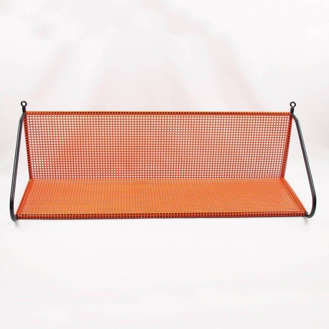 Mathieu Mategot Style Orange Perforated Metal Wall Bookshelf For Sale In Atlanta - Image 6 of 8