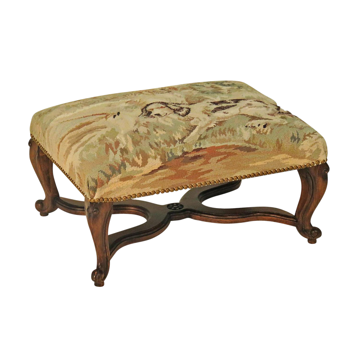 Early 20th Century French Needlepoint Stool
