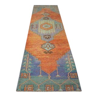 1960s Vintage Turkish Oushak Rug - 2′8″ × 11′ For Sale
